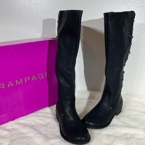Rampage Vegan Leather Full Calf Black Boots - 7